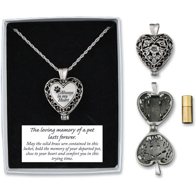 Pet Urns Always In My Heart Paw Print Locket