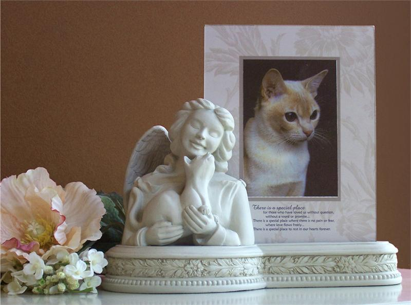 Porcelain Cat Memorial Urn With Picture Frame